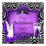 Bachelorette Party Purple Zebra Black Shoes Personalized Announcements