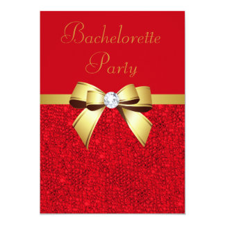 Bachelorette Party Red Faux Sequins Red Bow Card