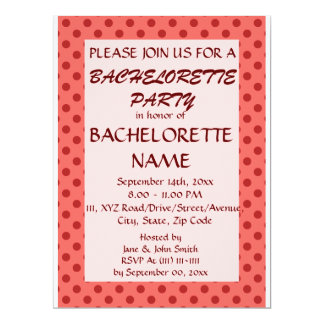 Bachelorette Party-Red Polka Dots, Pink Background 6.5x8.75 Paper Invitation Card