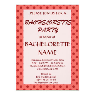 Bachelorette Party-Red Polka Dots, Pink Background Card