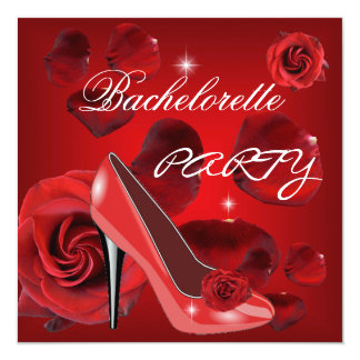 Bachelorette Party Red Roses Hi Heel Shoe Card