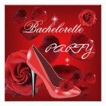 Bachelorette Party Red Roses Hi Heel Shoe Invitations