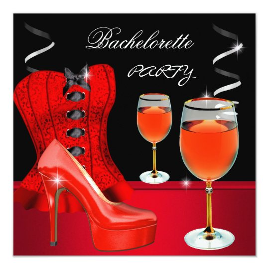 Bachelorette Party Red Shoe Corset Black Wine Card