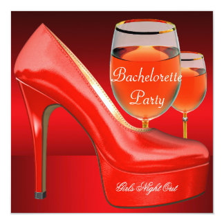 Bachelorette Party Red Shoes Hi Heels Wine Glass Card