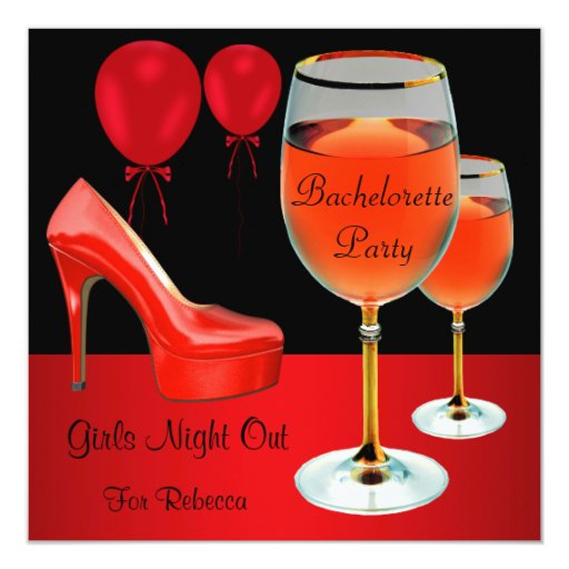 Bachelorette Party Red Shoes Hi Heels Wine Glass 5.25x5.25 Square Paper Invitation Card