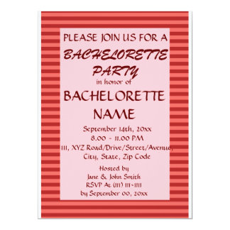 Bachelorette Party - Red Stripes, Pink Background 6.5x8.75 Paper Invitation Card