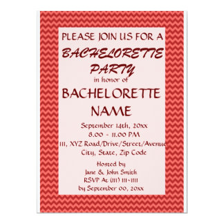 Bachelorette Party - Red Zigzag, Pink Background 6.5x8.75 Paper Invitation Card