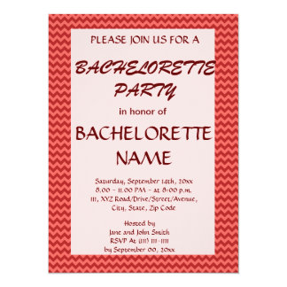 Bachelorette Party - Red Zigzag, Pink Background Invitation