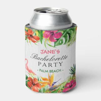 Bachelorette Party Rustic Tropical Floral Flamingo Can Cooler
