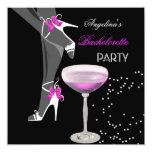 """Bachelorette Party Shoes Champagne pink 5.25"""" Square Invitation Card"""