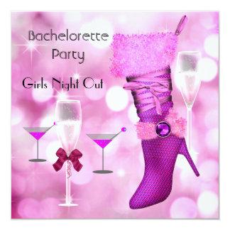 Bachelorette Party Shoes Hi Heels Boots Pink 2 Card