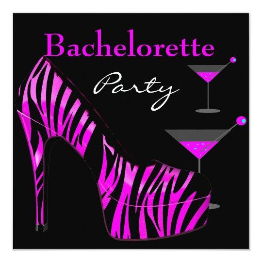 Bachelorette Party Shoes Pink Black Zebra Shoes Card