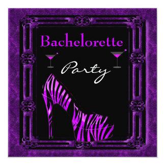 Bachelorette Party Shoes Purple Black Zebra Shoes Card