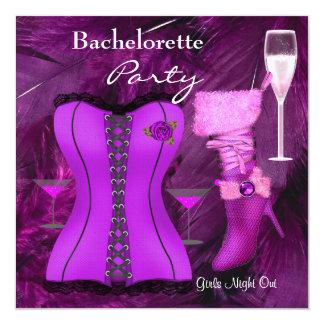 Bachelorette Party Shoes Purple Champagne Card