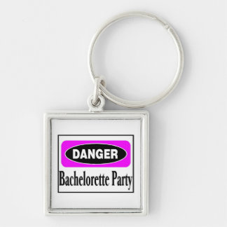 Bachelorette Party Silver-Colored Square Keychain