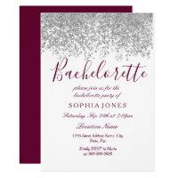 Bachelorette Party Silver Glitter Burgundy Invitation