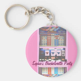 Bachelorette Party Slot Machine Pink Keychain