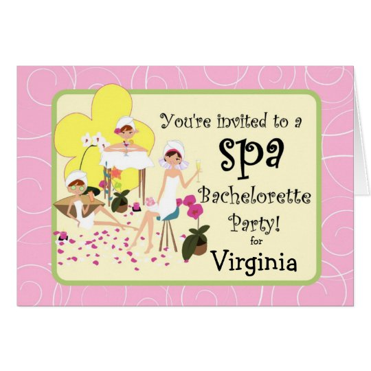 Bachelorette Party Spa Invitations - Pink