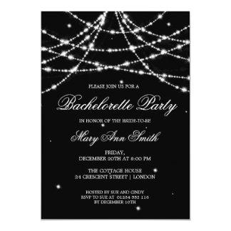 "Bachelorette Party Sparkling String Black 5"" X 7"" Invitation Card"