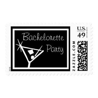 Bachelorette Party Stamps Martini Glass (Black)
