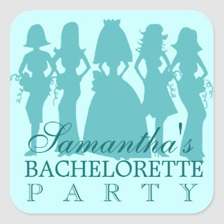 Bachelorette party sticker teal