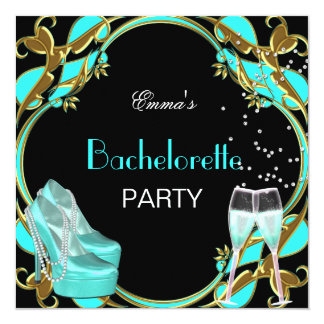 Bachelorette Party Teal Blue Black Gold Card