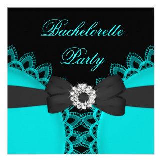 Bachelorette Party Teal Blue Black Lace Custom Announcement