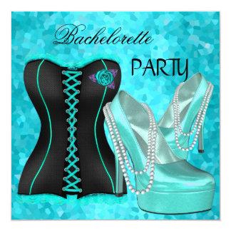 Bachelorette Party Teal Blue Hi heel Shoes 5.25x5.25 Square Paper Invitation Card