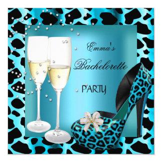 Bachelorette Party Teal Blue Leopard Black Shoes Card