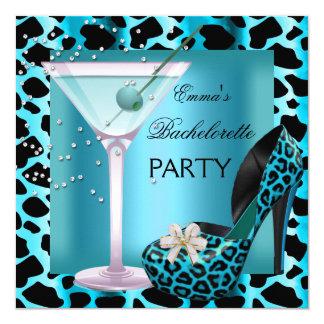Bachelorette Party Teal Blue Leopard Shoes Black Card