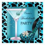 Bachelorette Party Teal Blue Leopard Shoes Black Custom Invite