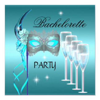 Bachelorette Party Teal Blue Mask Champagne Card