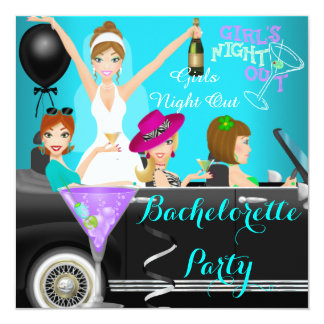 Bachelorette Party Teal Fun Limo Car Cocktails 1 Card