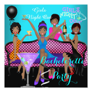 Bachelorette Party Teal Pink Fun Girls Cocktails 3 Card