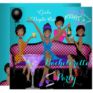 Bachelorette Party Teal Pink Fun Girls Cocktails 3 Invitation