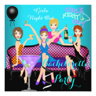 Bachelorette Party Teal Pink Fun Girls Cocktails 4 Card