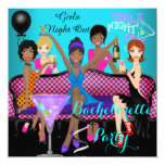 "Bachelorette Party Teal Pink Fun Girls Cocktails 4 5.25"" Square Invitation Card"