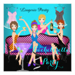 Bachelorette Party Teal Pink Lingerie Cocktails 5.25x5.25 Square Paper Invitation Card