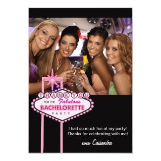 Bachelorette Party Thank You Card Photo - Vegas Personalized Invitations
