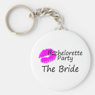 Bachelorette Party The Bride Pink Kiss Basic Round Button Keychain