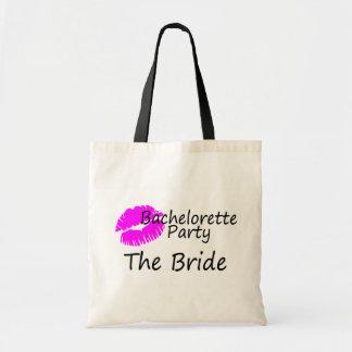 Bachelorette Party The Bride Pink Kiss Tote Bag