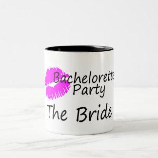 Bachelorette Party The Bride Pink Kiss Two-Tone Coffee Mug