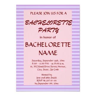 Bachelorette Party-Violet Stripes, Pink Background Invitation