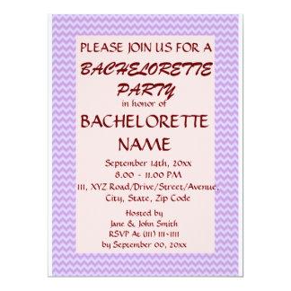 Bachelorette Party-Violet Zigzag, Pink Background 6.5x8.75 Paper Invitation Card