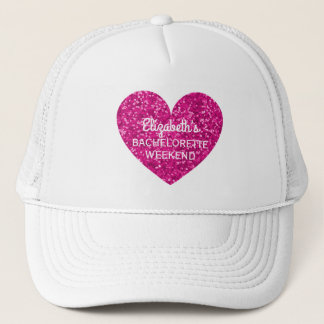 Bachelorette Party Weekend | Glitter Pink Heart Trucker Hat