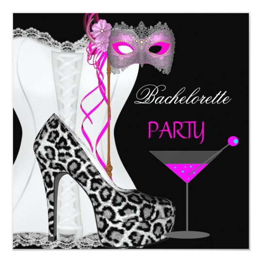 Bachelorette Party White Corset Pink Leopard Card
