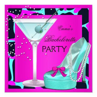 Bachelorette Party Wild Hot Pink Teal Aqua 5.25x5.25 Square Paper Invitation Card