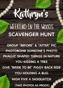 Scavenger Hunt Bachelorette Party Invitations | Zazzle