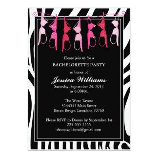 "Bachelorette Party   Zebra 5"" X 7"" Invitation Card"