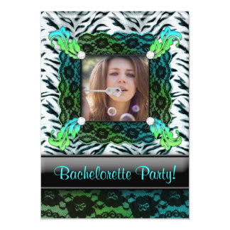 Bachelorette Party Zebra Jewelry Photo Invite BG